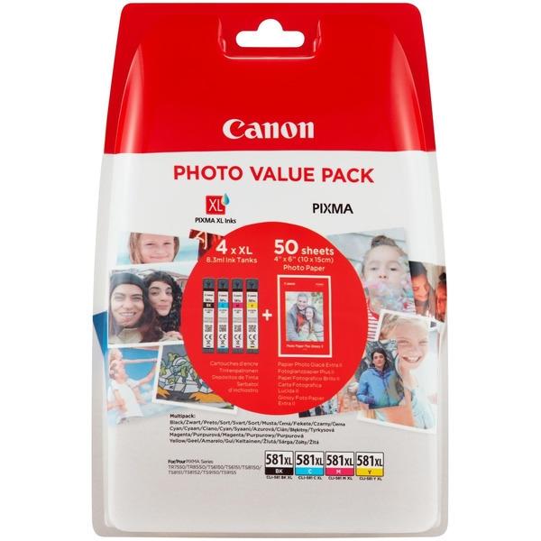 Canon CLI-581XL BK/C/M/Y Tinte mit hoher Reichweite + Fotopapier Value Pack